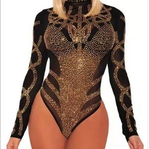 Tops - Sexy Rhinestone Bodysuit